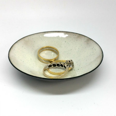 White,Enamel,Trinket,Dish,MaisyPlum, white ring dish, ring bowl, trinket dishes, coin tray