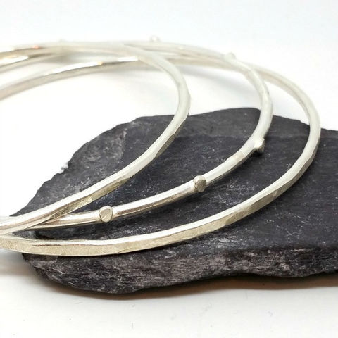 Set,of,Three,Sterling,Silver,Bangles,sterling silver bangles, Bracelet set , silver bangle set, hammered silver bangles, handforged bangle set, handmade jewellery, handmade sterling silver bangles, granulation jewellery, stacking bangles