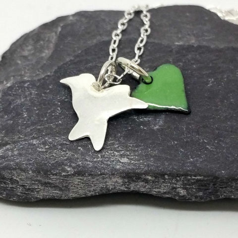 Sterling,Silver,Enamel,Bird,Charm,Necklace,MaisyPlum, necklaces, pendants, bird pendant, sterling silver, jewellery, dainty, silver bird jewellery, enamel heart, silver bird pendant, enamel heart jewellery, enamel jewellery
