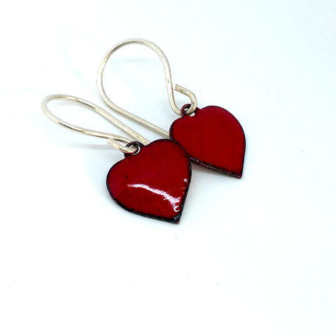 Red,Enamel,Heart,Earrings,MaisyPlum, enamel, heart, earrings, dangly heart earrings, handmade enamel jewellery, fused glass jewellery, drop earrings, Vanlentines jewellery, Christmas gift, red enamel earrings