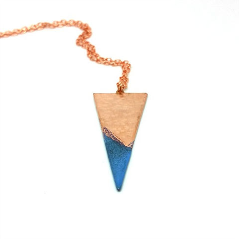 Blue,Enamel,Copper,Geometric,Triangle,Pendant,MaisyPlum, copper necklace, blue triangle necklace, geometric pendants, copper jewellery, artisan jewelry, aztec jewellery, copper pendant, boho necklace, colourful jewellery, copper and enamel pendant, enamel gifts, enamel jewellery, festival jewellery