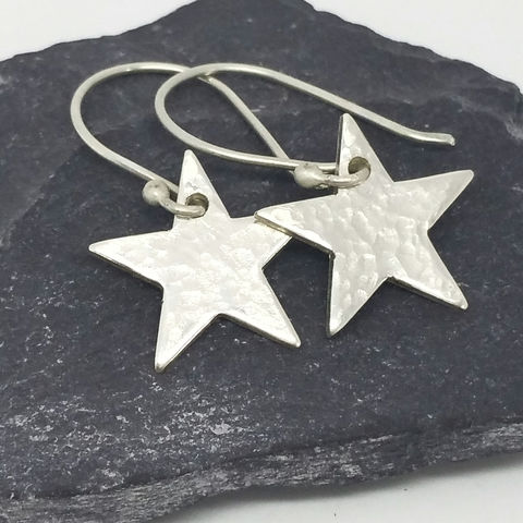 Sterling,Silver,Star,Earrings,MaisyPlum,dangly star earrings, handcrafted earrings, silver star earrings, Sterling silver earrings