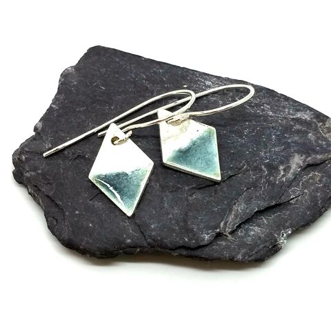 Sterling,Silver,and,Grey,Enamel,Diamond,Shape,Earrings,MaisyPlum,sterling silver earrings,dangly earrings, drop earrings, enamel earrings, diamond shaped earrings, geometric,