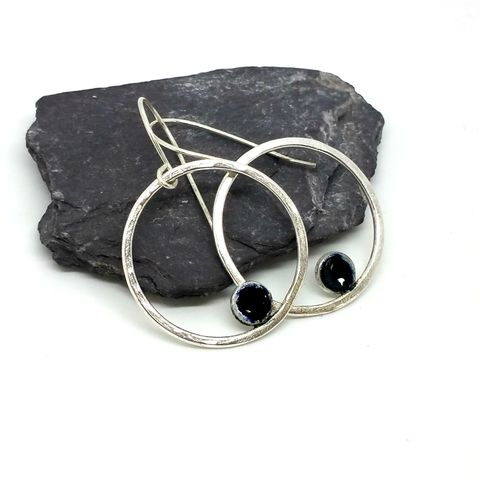 Sterling,Silver,Enamel,Hoop,Earrings,MaisyPlum,sterling silver hoop earrings,dangly earrings, enamel dot earrings