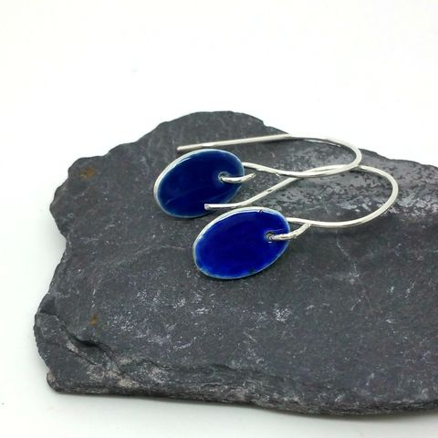 Blue,Sterling,Silver,Oval,Enamel,Earrings,sterling silver and enamel, silver earrings, blue enamel drop earrings, dangly earrings, handmade, enamel, jewellery