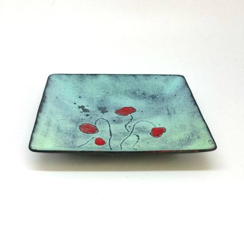 Square,Poppy,Enamel,Ring,Bowl,MaisyPlum, poppy, enamel bowl, square ring bowl, trinket dish, ring dish, change bowl, trinket tray, decorative bowl, small change dish, wedding ring bowl, sgrafitto bowl