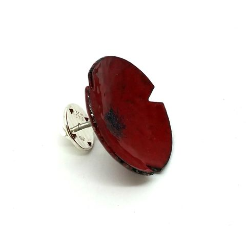 Deep,Red,Enamel,Flower,Brooch,Pin,MaisyPlum, red, enamel, brooches, enamel pins, red flower brooch, poppy pin, handmade, colourful brooches, contemporary jewellery, handmade jewellery