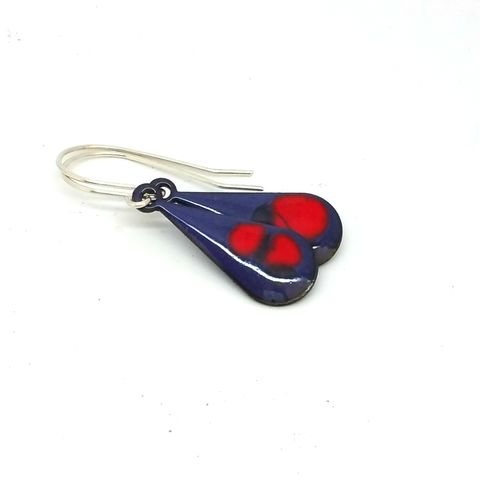 Red,and,Purple,'Droplets',Dangly,Enamel,Earrings,MaisyPlum, copper jewellery, purpleearrings, red enamel teardrop earrings, handmade jewelry, artisan, drop earrings, dangly earrings, unique jewellery, boho earrings