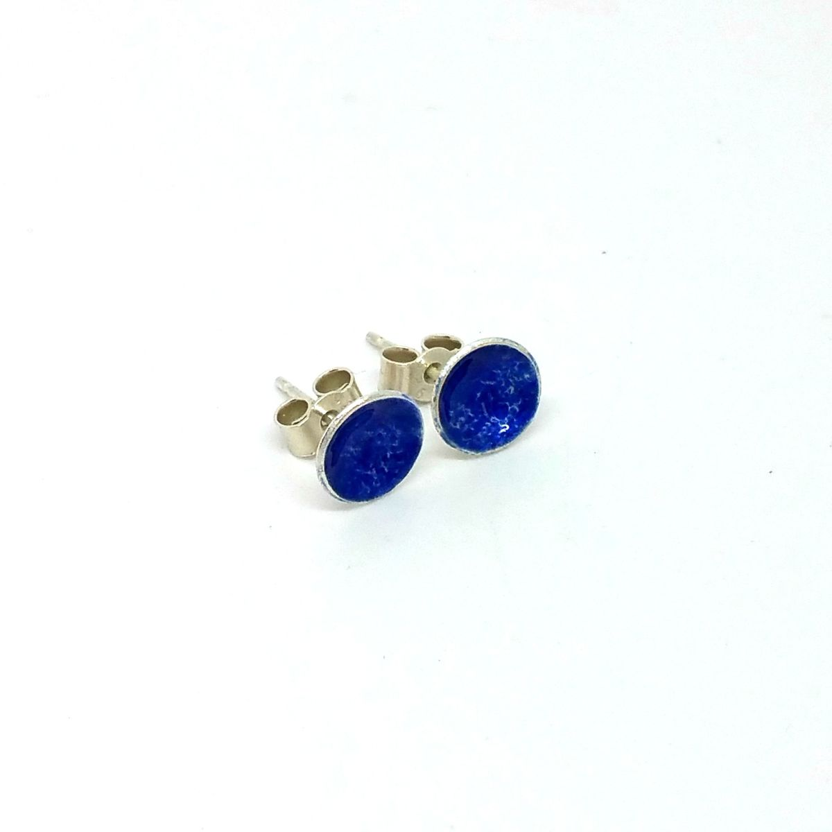 Blue Round Enamel Stud Earrings - product images  of