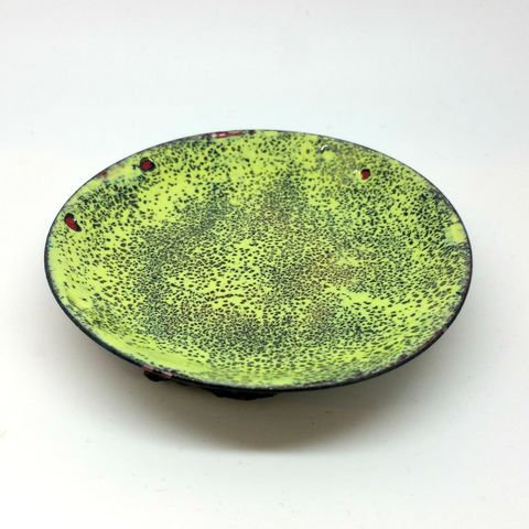 Lime,Green,Enamel,Ring,Dish,enamel bowl, jewellery dish, ring dish, lime green ring bowl, trinket dish, tray, flat dish, jewellery storage bowl, cufflink dish, green bowl