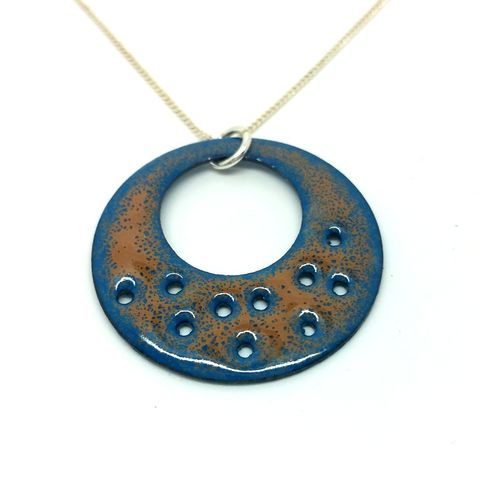 Teal,Circle,Necklace,enameled jewellery, handcrafted jewellery, statement necklace, enamel necklace, round enamel pendant, circle pendant necklace, glass jewellery, gift for her, unusual disc necklace, handmade enamel jewellery, teal necklace, blue jewellery