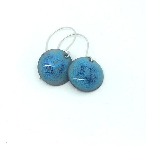 Pale,Blue,Enamel,Disc,Earrings,pale blue earrings, light blue earrings, disc earrings, round enamel earrings, round dangly earrings, circle earrings, unique jewellery, handmade earrings, artisan jewellery, earrings for evening