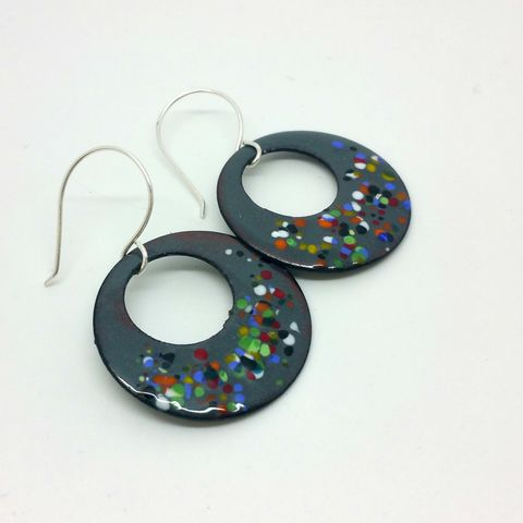 Dotty,Enamel,Earrings,dotty earrings, multicoloured drop earrings, dangly enamel earrings, grey jewellery, spotty, fun and quirky jewellery