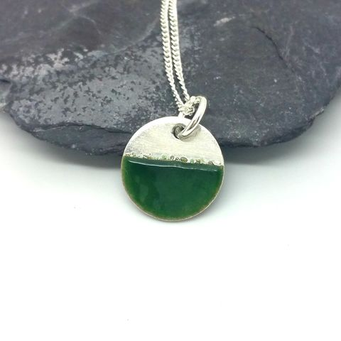 Enamel,Disc,Pendant,-,Green,silver and enamel pendant, disc necklace, round necklace, emerald, green jewellery minimalist, modern, contemporary jewellery, 2 tone