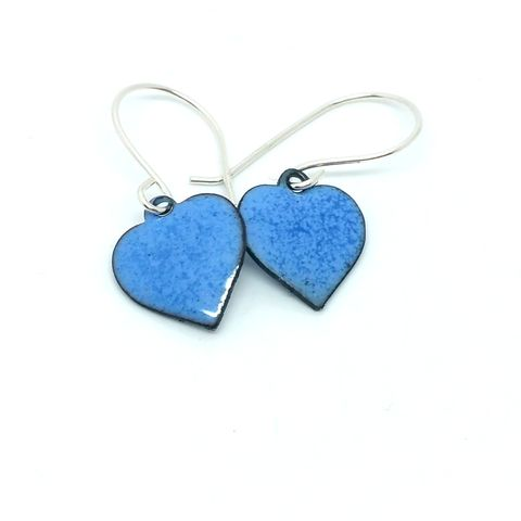 Denim,Blue,Enamel,Heart,Earrings,MaisyPlum, enamel, heart, earrings, dangly heart earrings, handmade enamel jewellery, fused glass jewellery, drop earrings, Vanlentines jewellery, Christmas gift, denim blue enamel earrings, blue heart earrings