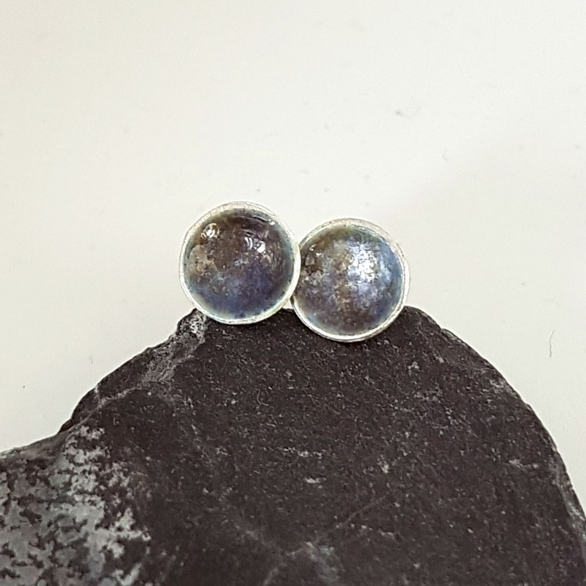 Grey Round Enamel Stud Earrings - product images  of