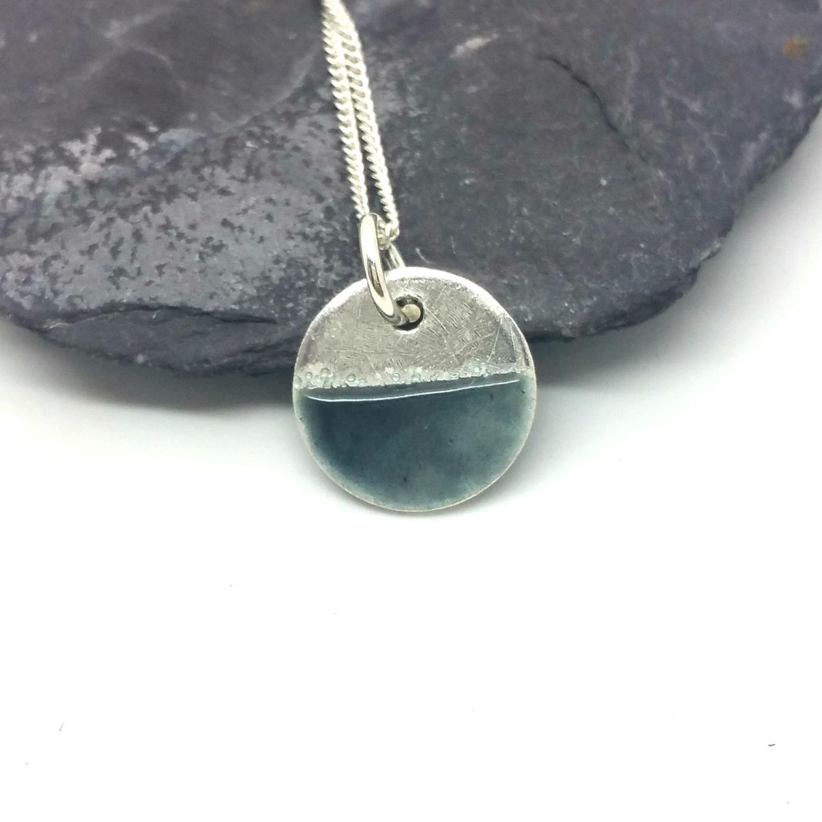 Enamel Disc Pendant - Grey - product images  of