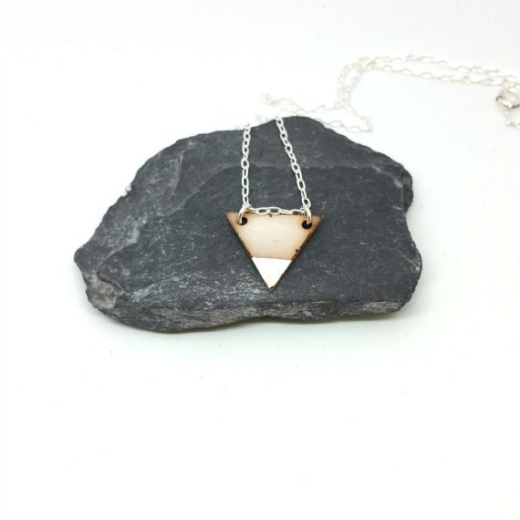 Triangle Enamel Necklace - White - product images  of
