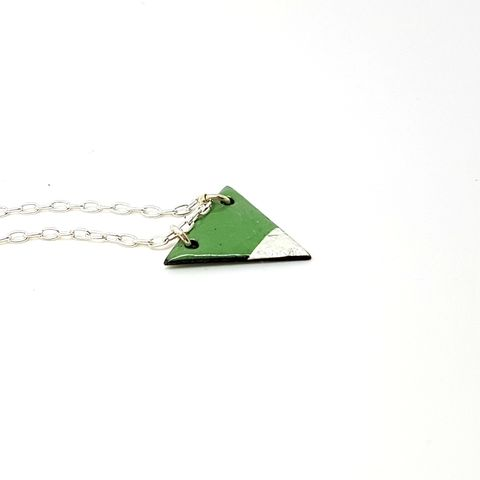 Triangle,Enamel,Necklace,-,Green,triangle necklace, enameled triangle necklace, green triangle pendant, enamel jewellery, geometric necklace, modern, green and silver, emerald, handmade jewellery, aztec, torch fired, modern trendy pendant