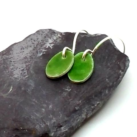 Olive,Green,Sterling,Silver,Oval,Enamel,Earrings,sterling silver and green enamel, silver earrings, olive green, enamel drop earrings, dangly earrings, handmade, enamel, jewellery, green earrings, modern jewellery, oval