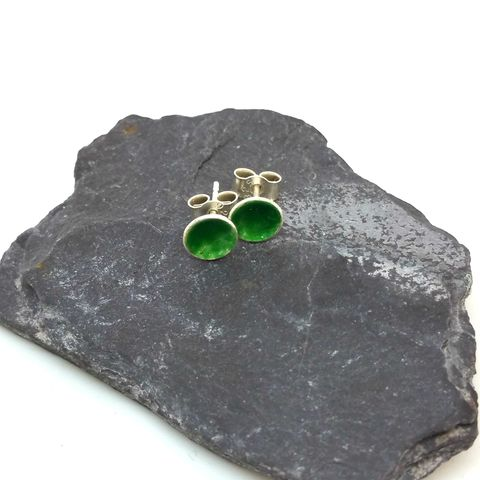 Emerald,Green,Round,Enamel,Stud,Earrings,MaisyPlum, green enamel earrings, emerald enamel studs, green, sage, round, circular earrings, enamel stud earrings, fused glass earrings, jewelry enamel, enamel jewellery