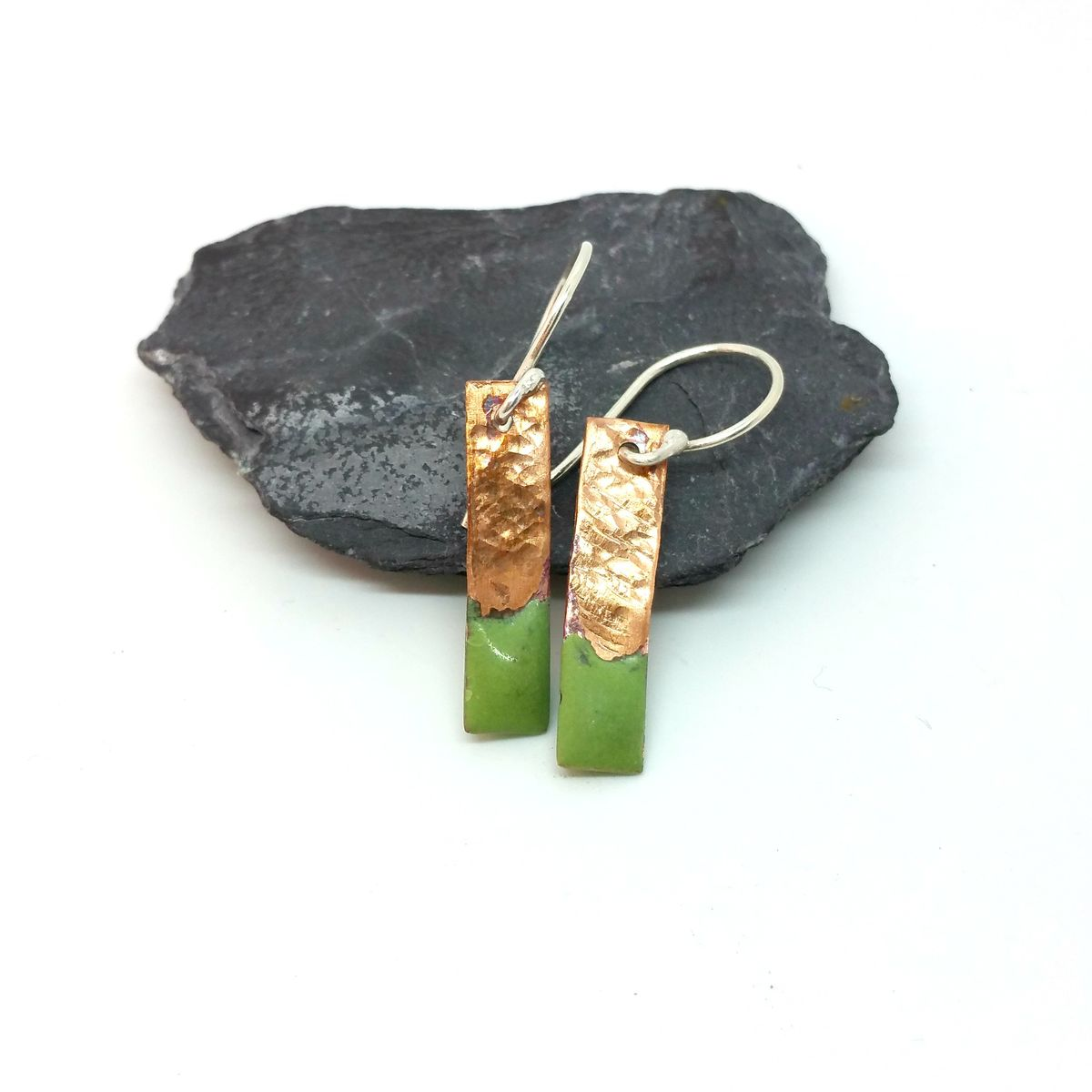 Lime Green Enamel and Copper Earrings - product images  of