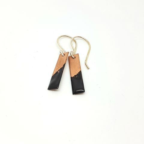 Black,Enamel,and,Copper,Earrings,MaisyPlum, enamel jewellery, handmade earrings, black enamel earrings, onyx, copper and enamel earrings, dangly earrings, oblong earrings, artisan jewellery, gift for her, black dangly earrings, black jewellery,