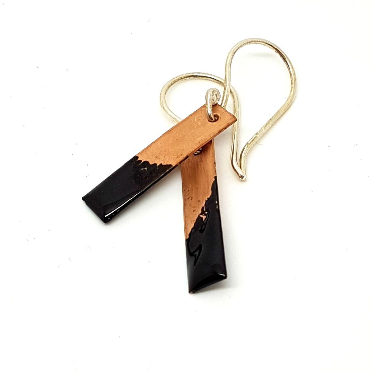 Black Enamel and Copper Earrings - product images  of