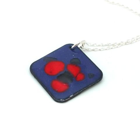 Square,Enamel,Droplet,Pendant,square pendant, enamel pendant, enamel jewellery, enamel necklace, geometric necklace, droplet, unusual handmade jewellery, purple and red necklace, red and purple