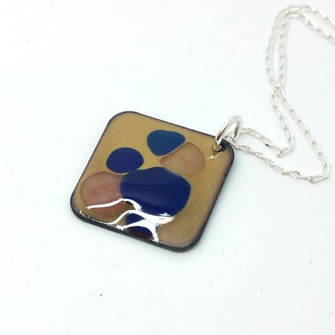 Square,Enamel,Droplet,Pendant,-,Blue/Beige,square pendant, enamel pendant, enamel jewellery, enamel necklace, geometric necklace, droplet, unusual handmade jewellery, blue and beige, tan, necklace, tan and navy blue
