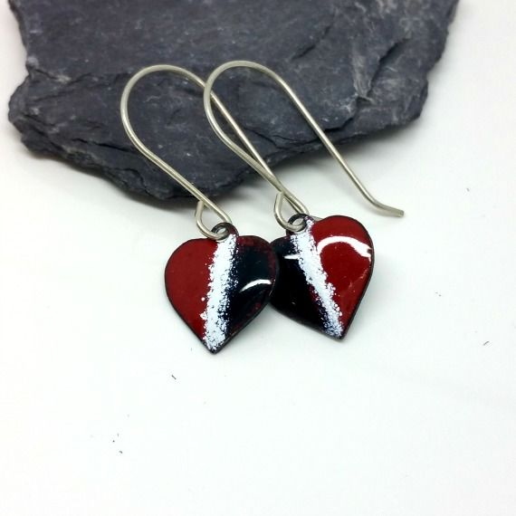 Red White and Blue Enamel Heart Earrings - product images  of