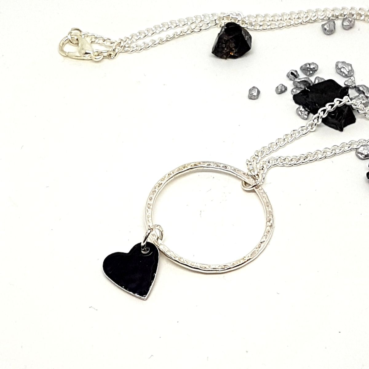 Long Hoop Heart Charm Necklace - product images  of
