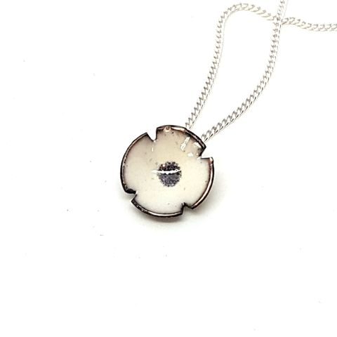 White,Poppy,Flower,Pendant,white enamel poppy flower necklace, pendant, wedding jewellery, flower jewellery, handmade enamel jewellery, copper enamel, white poppy, rememberance jewelry, peace poppy