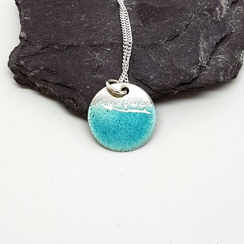 Enamel,Disc,Pendant,-,Turquoise,silver and turquoise enamel pendant, aquamarine, March birthstone, aquamarine jewellery, disc necklace, round necklace, minimalist, modern, contemporary jewellery, turquoise necklace, dainty jewellery, opalescent