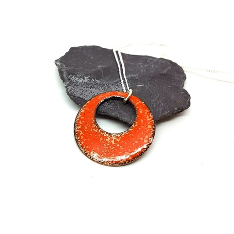 Orange,Circle,Enamel,Necklace,orange pendant, enamel necklace, orange round pendant, pendant, necklace, orange enamel jewellery, boho necklace, amber, tangerine