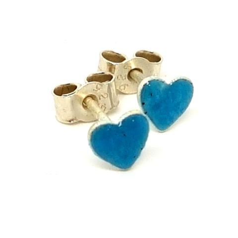 Turquoise,Heart,Ear,Studs,enamel earrings, heart ear studs, heart earrings, enamel heart studs, stud earrings, enameled jewellery, turquoise heart ear studs, aquamarine earrings, earrings for teens, silver stud earrings uk, contemporary silver earrings,