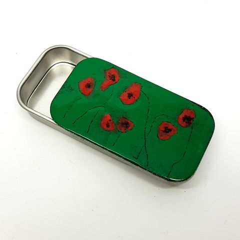 Poppy,Enamel,Gift,Tin,handmade, enamel, tin, gift tin, storage tin poppies, gift box, sweet tin, packaging, gift idea, poppy tin, green tins, jewellery tin, pill box, birthday, aluminium tins