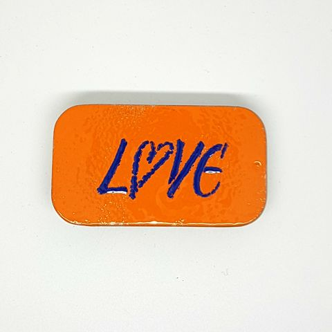 LOVE,Enamel,Gift,Tin,handmade, enamel, tin, gift tin, storage tin, orange gift box, sweet tin, packaging, gift idea, valentine tin, orange tins, jewellery tin, pill box, birthday, aluminium tins