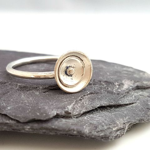 Sterling,Silver,Layered,Stacking,Ring,-,Size,M,sterling silver ring, sterling stacking ring, stacker ring, handforged ring, handmade silver ring, disc ring, layered silver ring, riveted silver jewellery