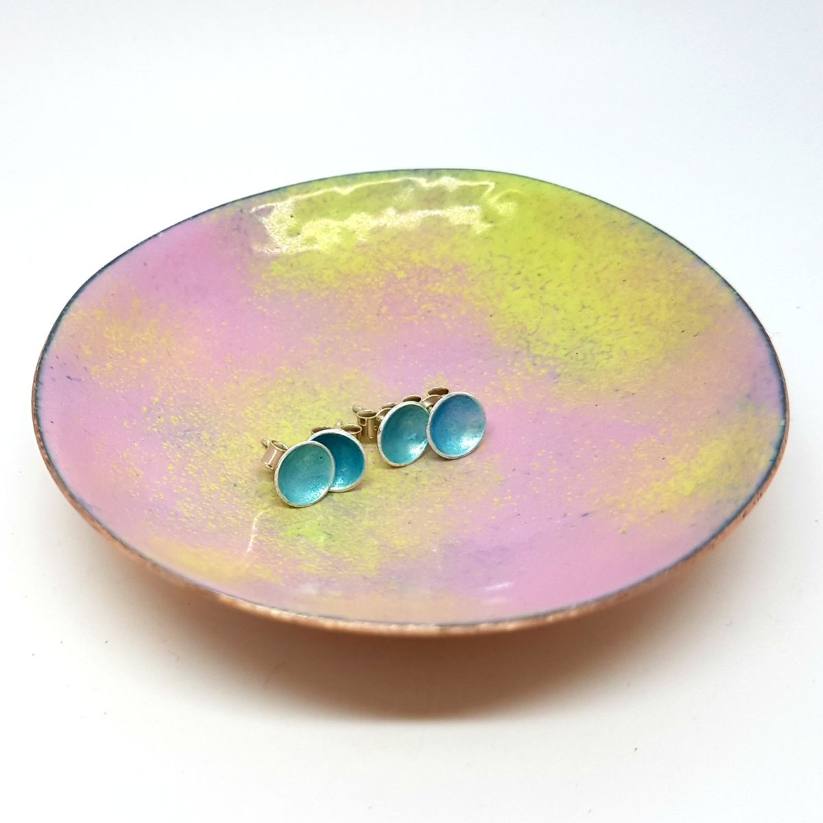 Pink and Green Enamel Trinket Dish - product images  of