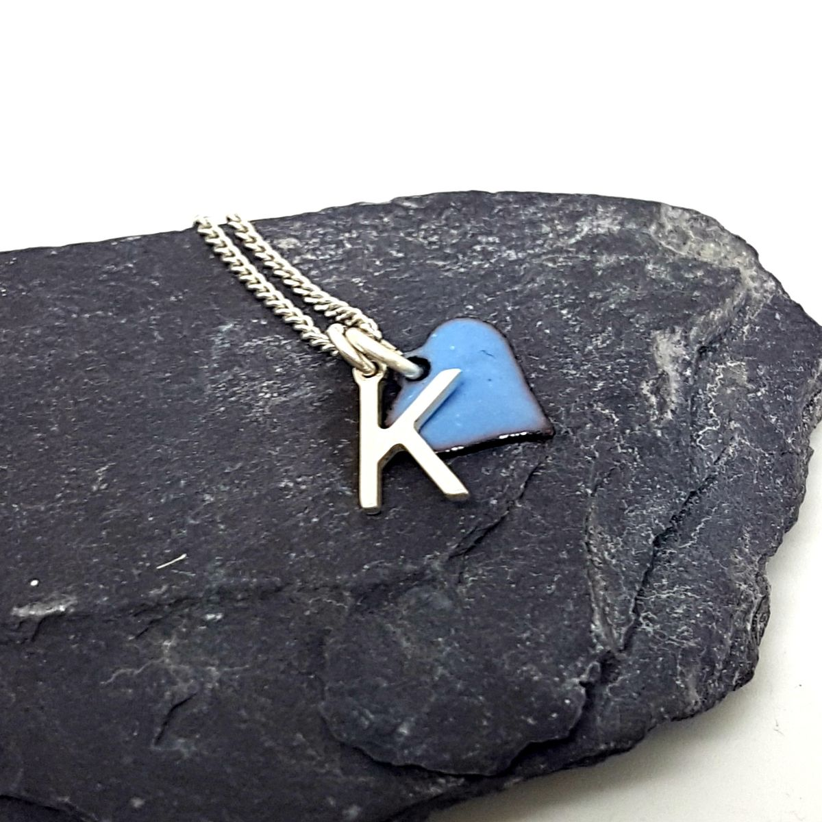 Sterling Silver & Enamel Initial Necklace - product images  of
