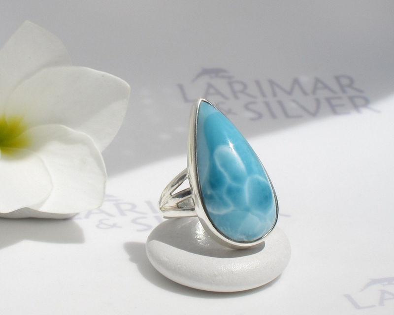 Larimar ring size 6.75 by Larimarandsilver Dive in the Sky lake blue Larimar pear ring 925 silverSwiss bluewater drophandmade Larimar