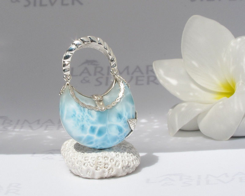 Larimarandsilver pendant, Little Mermaid Purse 3 - topaz blue Larimar stone, blue purse, water blue, blue crystal, handmade Larimar pendant - product images  of