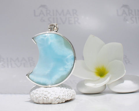 SOLD,OUT,-,Larimar,moon,by,Larimarandsilver,,Moon,Alchemy,translucent,sea,blue,crescent,,aquamarine,moon,,handmade,pendant,Jewelry,Necklace,925 sterling silver,aka blue pectolite,aka Atlantis stone,aka Dolphin stone,aka Love stone,aka Stefilia stone