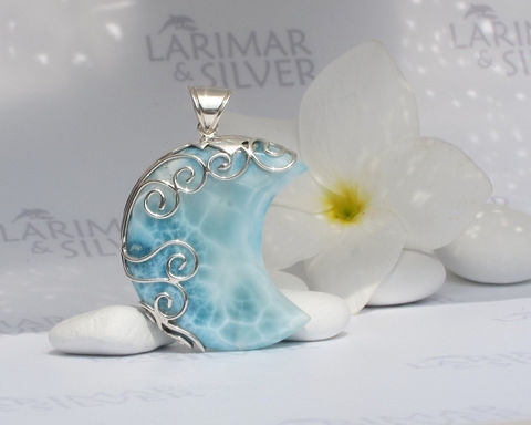 Larimarandsilver,pendant,,Mermaid,Goddess,-,aquamarine,Larimar,moon,,blue,moon,crystal,,turtleback,,silver,spirals,,handmade,pendant,Jewelry,Necklace,Larimar_pendant,Larimar_moon,blue_moon,larimar_crescent,moon_pendant,blue_crescent,aquamarine_moon,crystal_moon,turtleback,water_blue,sea_blue,crescent_moon,moon_goddess,925 sterling silver,aka Pectolite,aka Atlantis stone,aka Dol