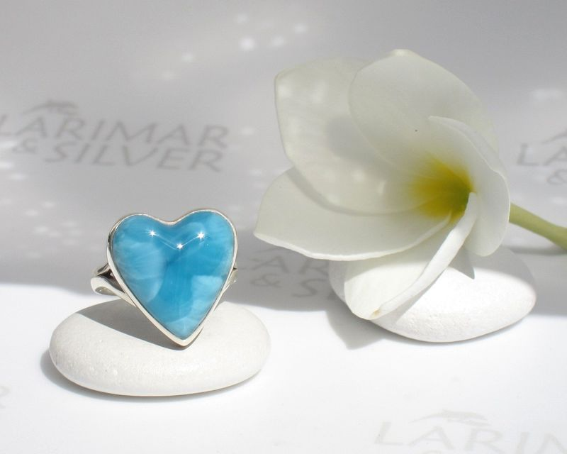 SOLD OUT - AAA Larimar heart ring size 6.75 - Heart of the Abyss - product images  of