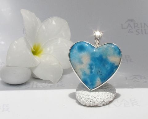 Reversible,Larimar,heart,pendant,-,On,Earth,as,in,Heaven,Larimar pendant, heart pendant, larimar heart, blue heart, Venus heart, Venus jewelry, Aphrodite pendant, sea blue heart, siren pendant, ocean blue, volcanic Larimar, volcanic blue, goddess pendant, sea goddess, love goddess, blue stone pendant, siren hea