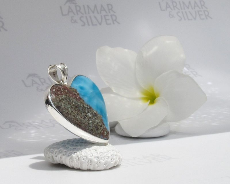 Reversible Larimar heart pendant - On Earth as in Heaven  - product images  of