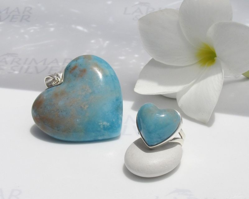 Pink coral Larimar jewelry set - La Vie en Rose - ring size 6.25 - product images  of