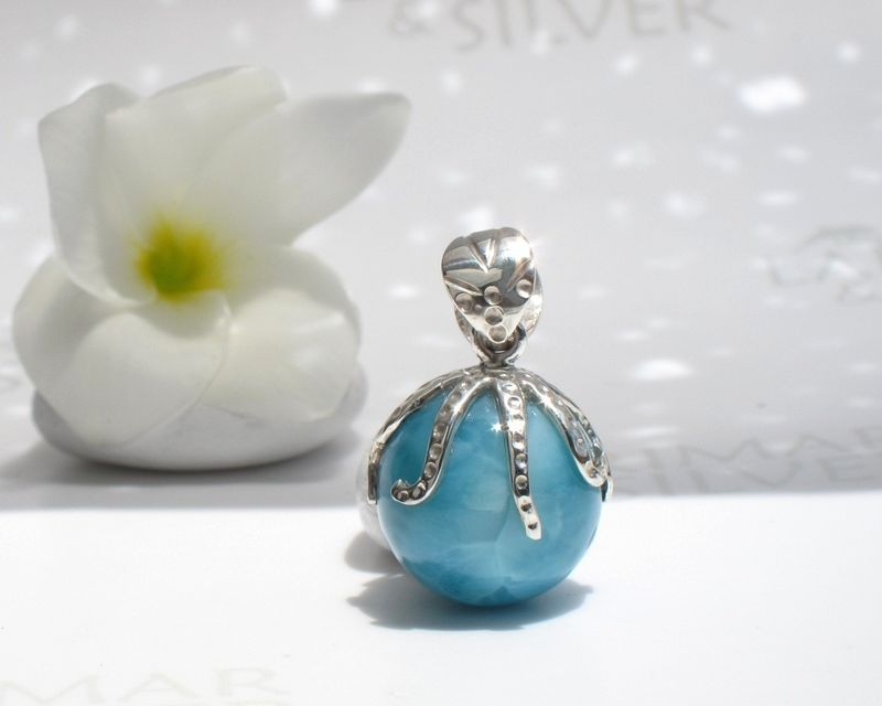 SOLD OUT - AAA Larimar octopus pendant - Guardian of the Abyss - product images  of